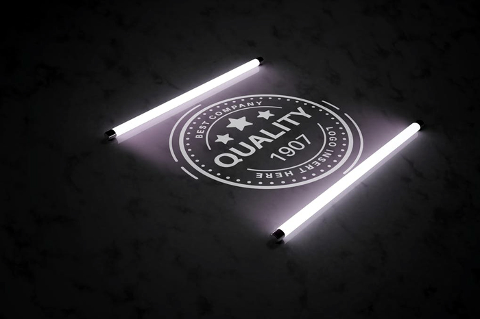 18 Light Dark Logo In The Light Of Fluorescent Lamps Mockup