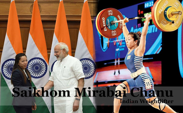 A photo of Saikhom Mirabai Chanu, an indian weightlifter
