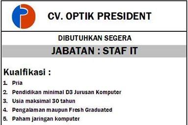 Lowongan CV. OPTIK PRESIDENT PEKANBARU November 2016