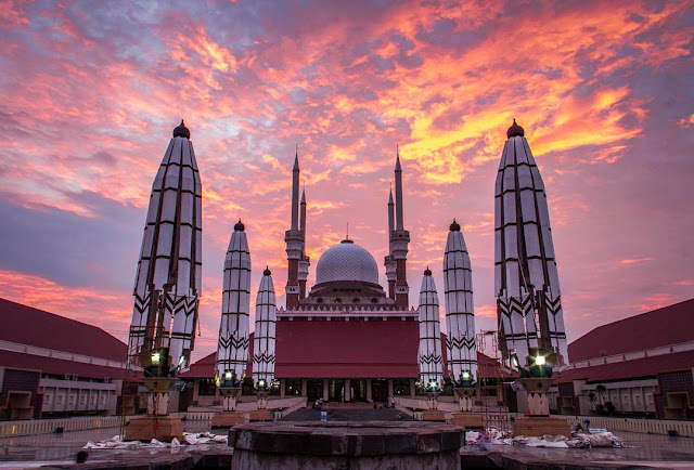 gambar masjid agung semarang sunset