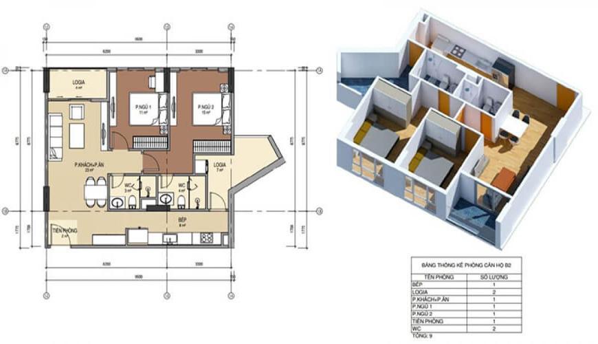 Thiết kế căn hộ số 2 chung cư Bình minh garden