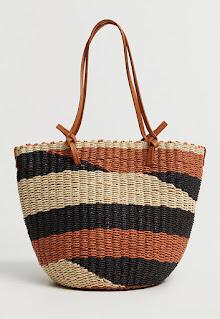 Mango - Дамска Чанта за рамо с плетен дизайн