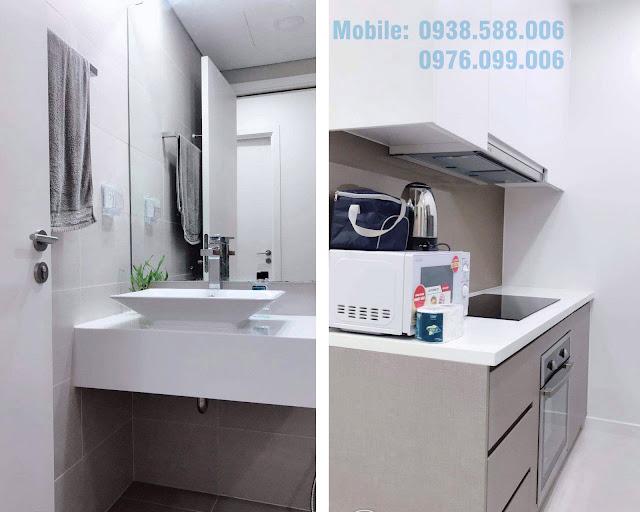 Bố trí nội thất phòng bếp, vệ sinh bên trong căn hộ dự án Masteri Millennium 1PN.