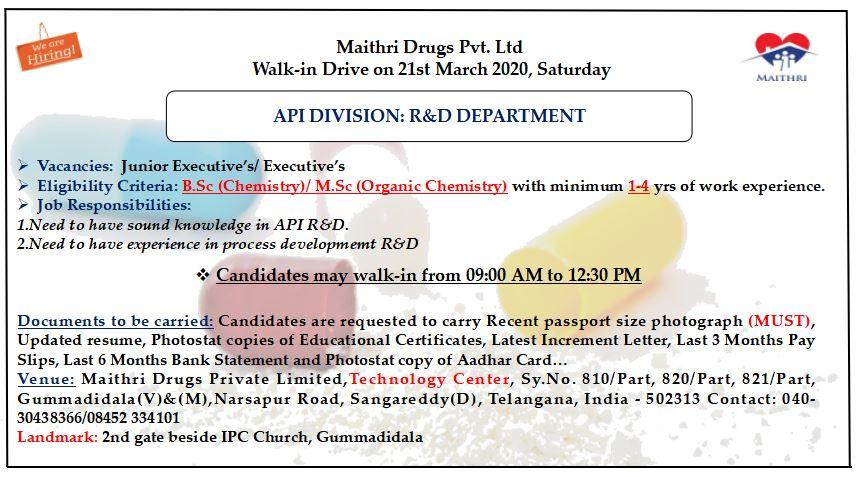 Maithri Drugs Pvt. Ltd - Walk-In Drive for QC / R&D on 21st Mar' 2020