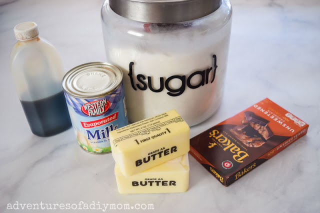ingredients for hot fudge sauce