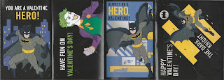 Front of last four Batman Valentine's Day cards