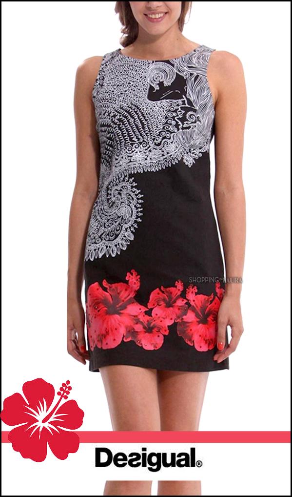 robe droite belgica noire et blanche imprimé hibiscus rouge desigual