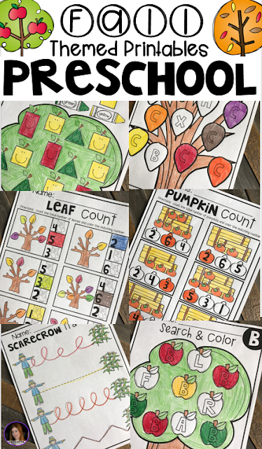 Fall Math and Literacy Worksheets and Printable for Preschool.