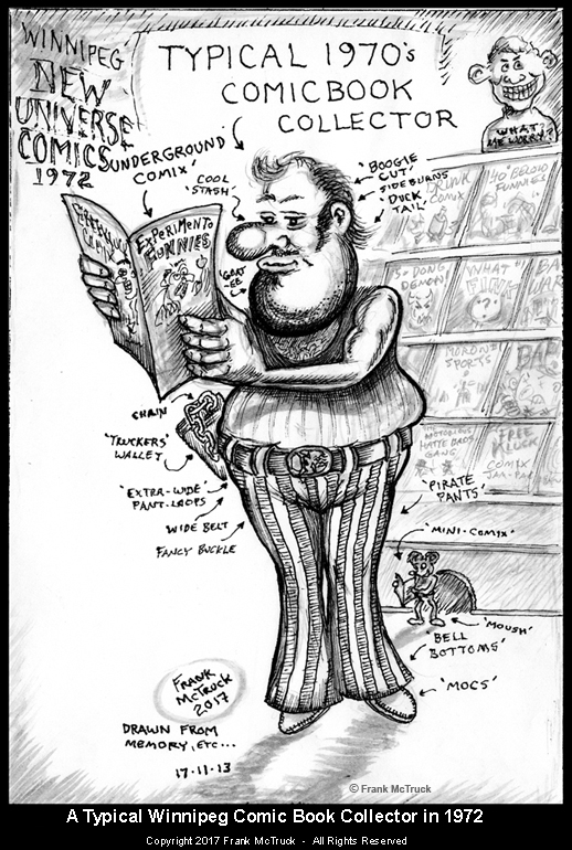 Frank McTruck cartoon - 'Typical 1970's Comic Collector'