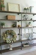 wood and iron bookshelves