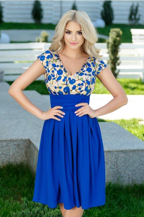 Rochie midi eleganta de vara albastra de ocazie cu broderie