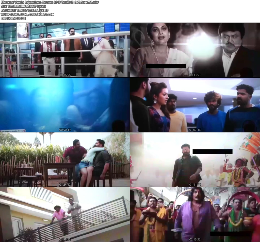 Vantha Rajavathaan Varuven 2019 Tamil HQ DVDScr | 480p 300MB | 100MB HEVC Screenshot