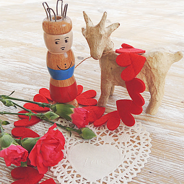 Vintage french kniting doll and papier mache goat with flowers and hearts