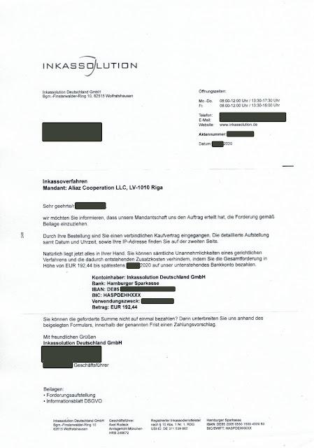 Scan: Zahlungsaufforderung Inkassolution Deutschland GmbH / April 2020