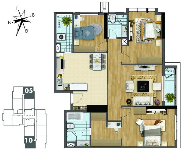Mặt bằng căn hộ 05 và 10 tòa Sapphire 2