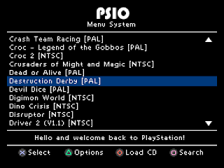 menu sony playstation PSIO flashcard everdrive