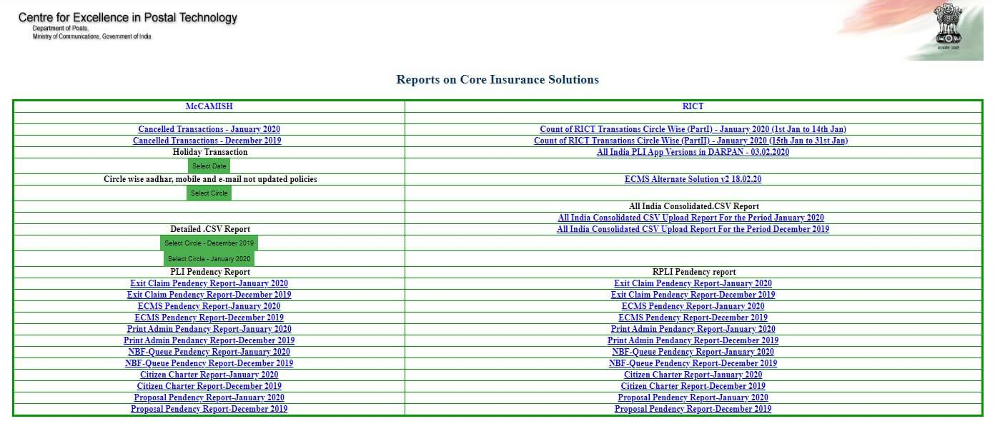 ECMS version upgrade-Reports on Core Insurance Solutions available at CEPT Website