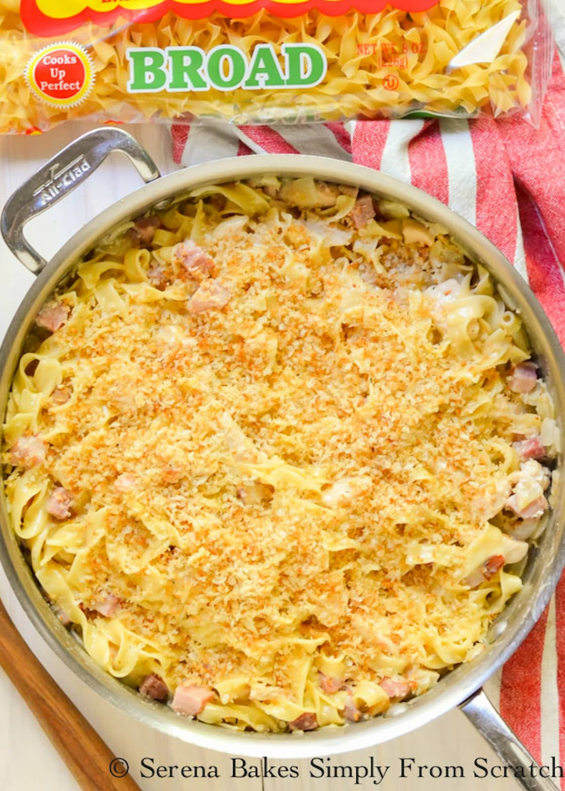 Chicken Cordon Bleu Noodle Skillet in a skillet covered with a panko bread topping.