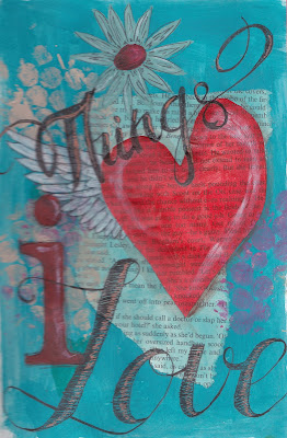 Mix Media Journal page: Things that I love. Crafts. Visual Diary, Pen, acrylic, gesso, paper. Yana Fourie. Eccentric Eclectic Studio