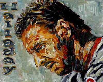 Sports art,baseball art of Philadelphia Phillies Cy Young award pitcher Roy Halladay looking down in contemplation painted by sports artist John Robertson