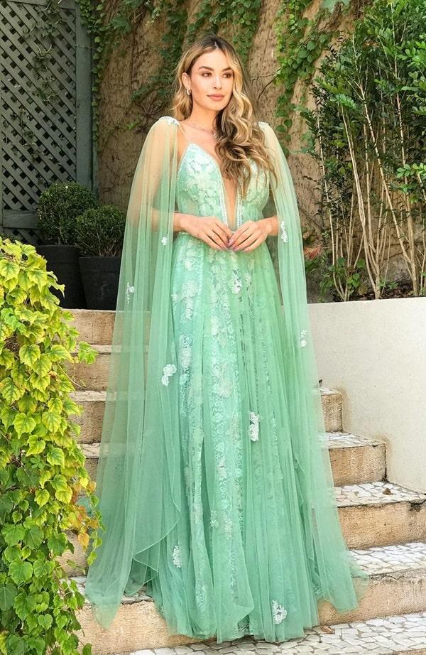 vestido de festa longo rendado verde menta