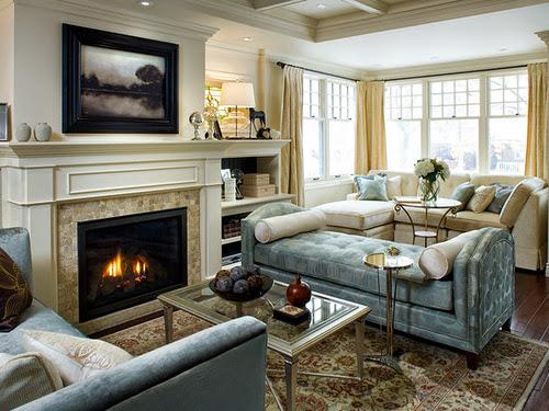 salon avec cheminée classique