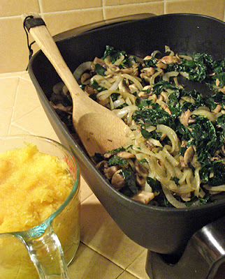 Skillet with Kale, Onion, and Mushroom, with Prepared Spaghetti Squash waiting