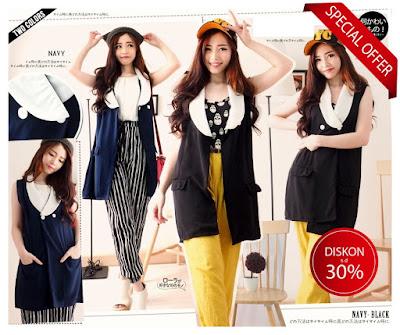 jual long sleeveless blazer vest outer baju korea import grosir murah