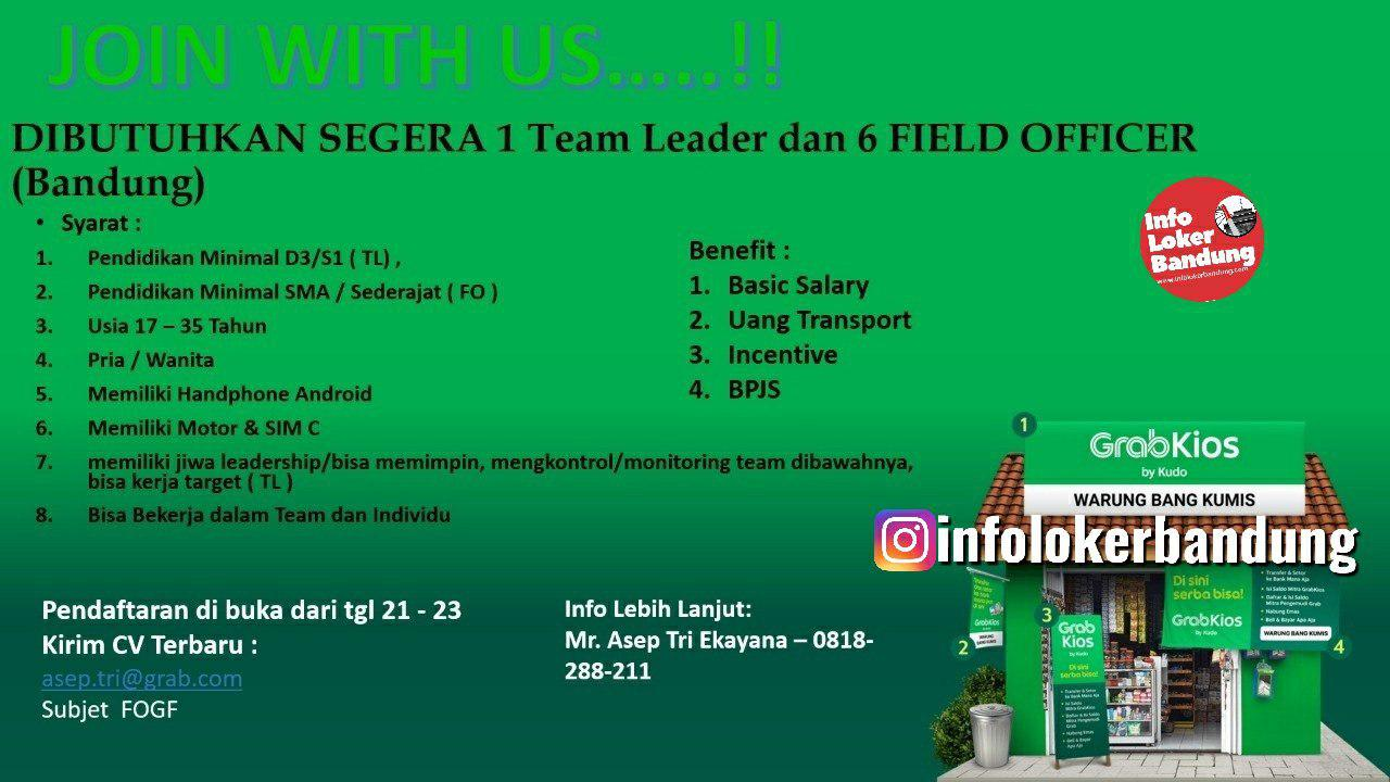 Lowongan Kerja Team Leader & Field Officer Grab Kios Bandung Oktober 2019