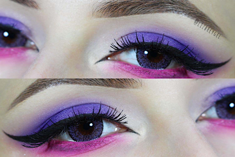 beautiful purple and pink cat eye makeup look with enlarging circle lenses