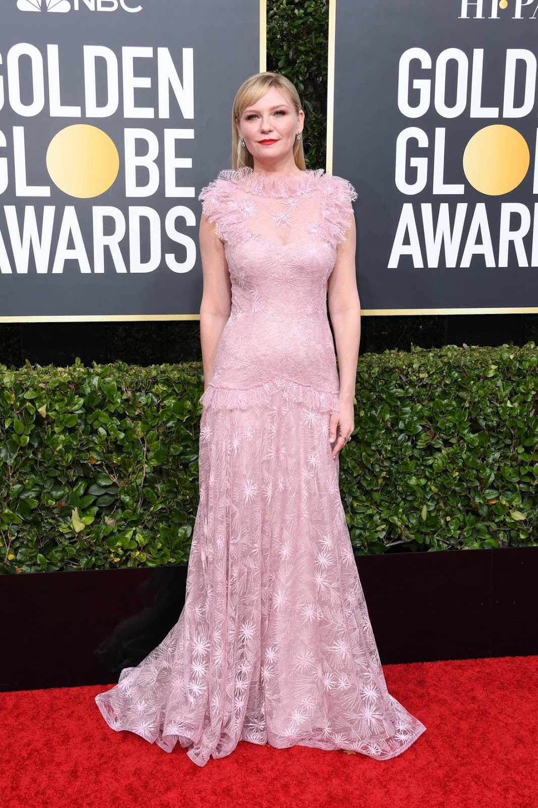Kristen Dunst wears pastel Rodarte to the 2020 Golden Globe Awards