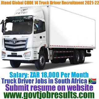 Xtend Global CODE 14 Truck Driver Recruitment 2021-22