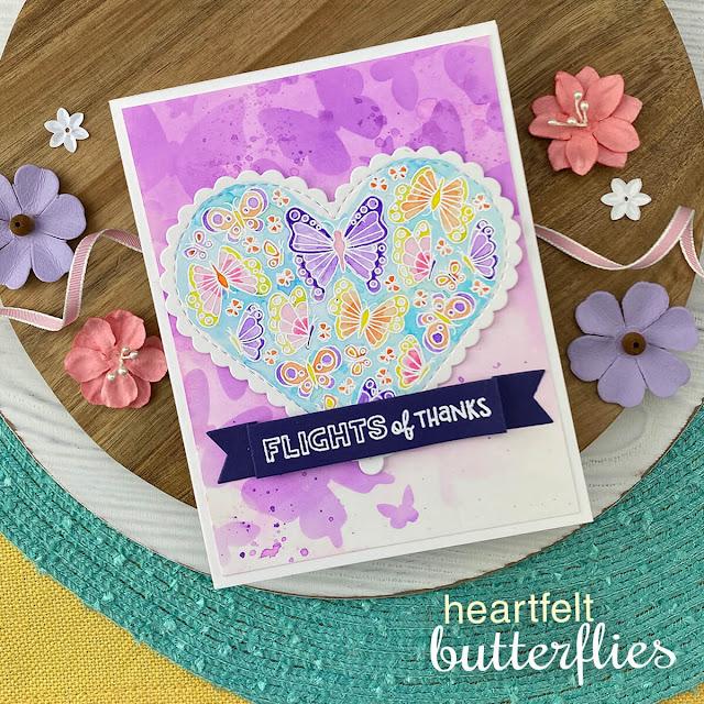 Butterfly card by Jennifer Jackson | Heartfelt Butterflies Stamp Set, Heart Frames Die Set, Banner Trio Die Set and Butterflies Stencil Set by Newton's Nook Designs #newtonsnook