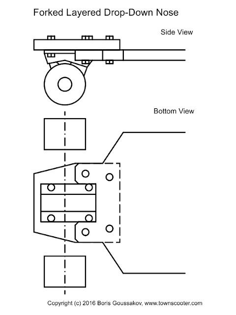 Forked drop-down longboard truck mount