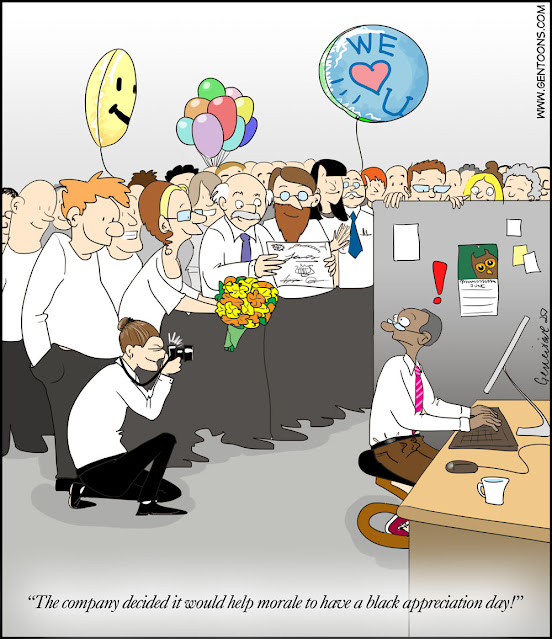 """office full of white people all gathered smiling around the desk of one worker with brown skin. he look surprised. the crowd offers a bouquet and balloons, and takes a photo of him, as one of them presents a certificate and announces, """"The company decided it would help morale to have a black appreciation day!"""""""