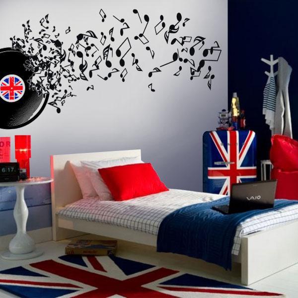 Dormitorio temtico msica - Decoracion con discos de vinilo ...