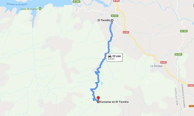 ruta en coche desde El Tiemblo al castañar