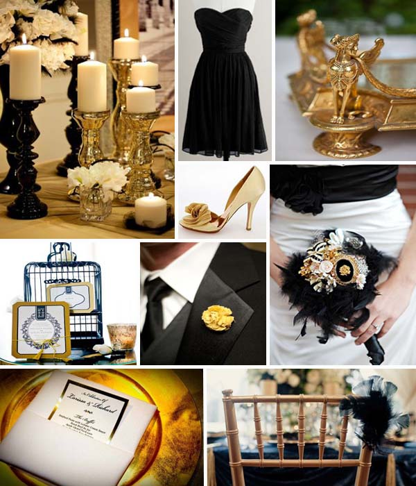 Gold Wedding Decorations: Swashbuckle The Aisle: High Glamor Inspiration: A Black