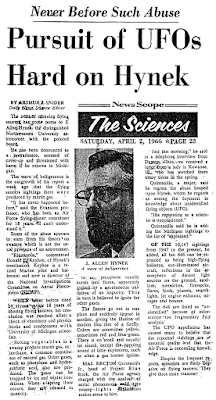 Pursuit of UFOs Hard On Hynek - Chicago Daily News 4-2-1966