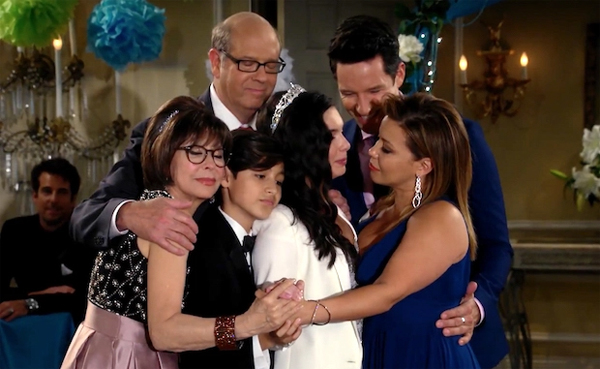 image of the primary cast of One Day at a Time on the dance floor at Elena's quinceanera