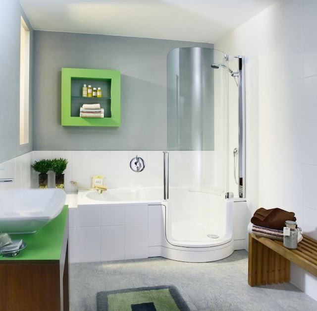 tiny bathroom ideas with white bathtub feat relaxing oval glass door completed with modern stainless steel shower