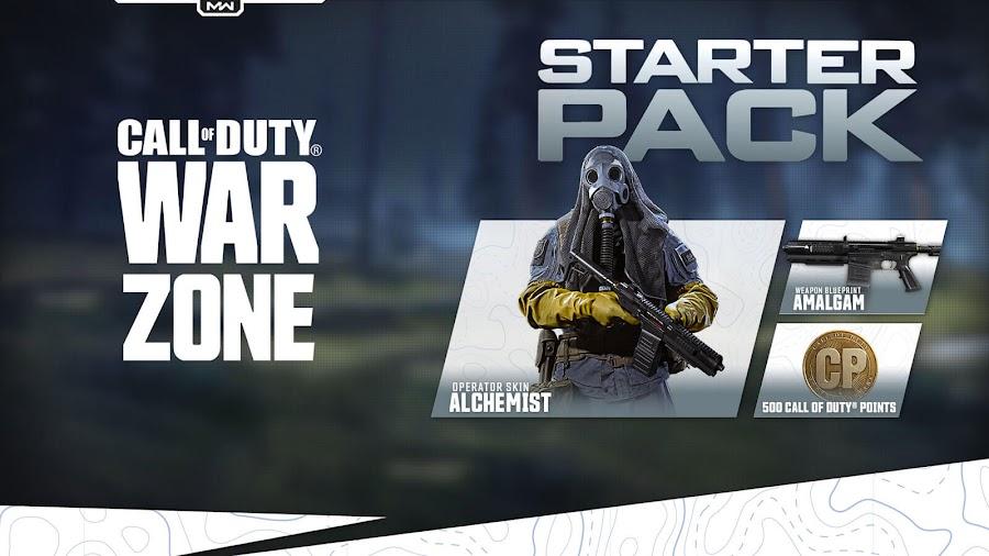 call of duty warzone starter pack 500 cod points amalgam  shotgun blueprint epic krueger skin alchemist calling card epic emblem double battle pass double weapon xp
