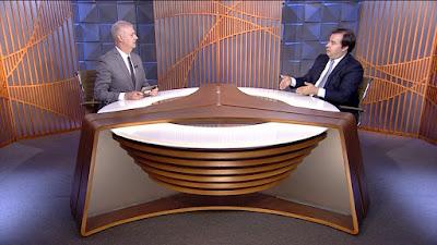 Fernando Rodrigues e Rodrigo Maia (Foto: Divulgação/SBT)