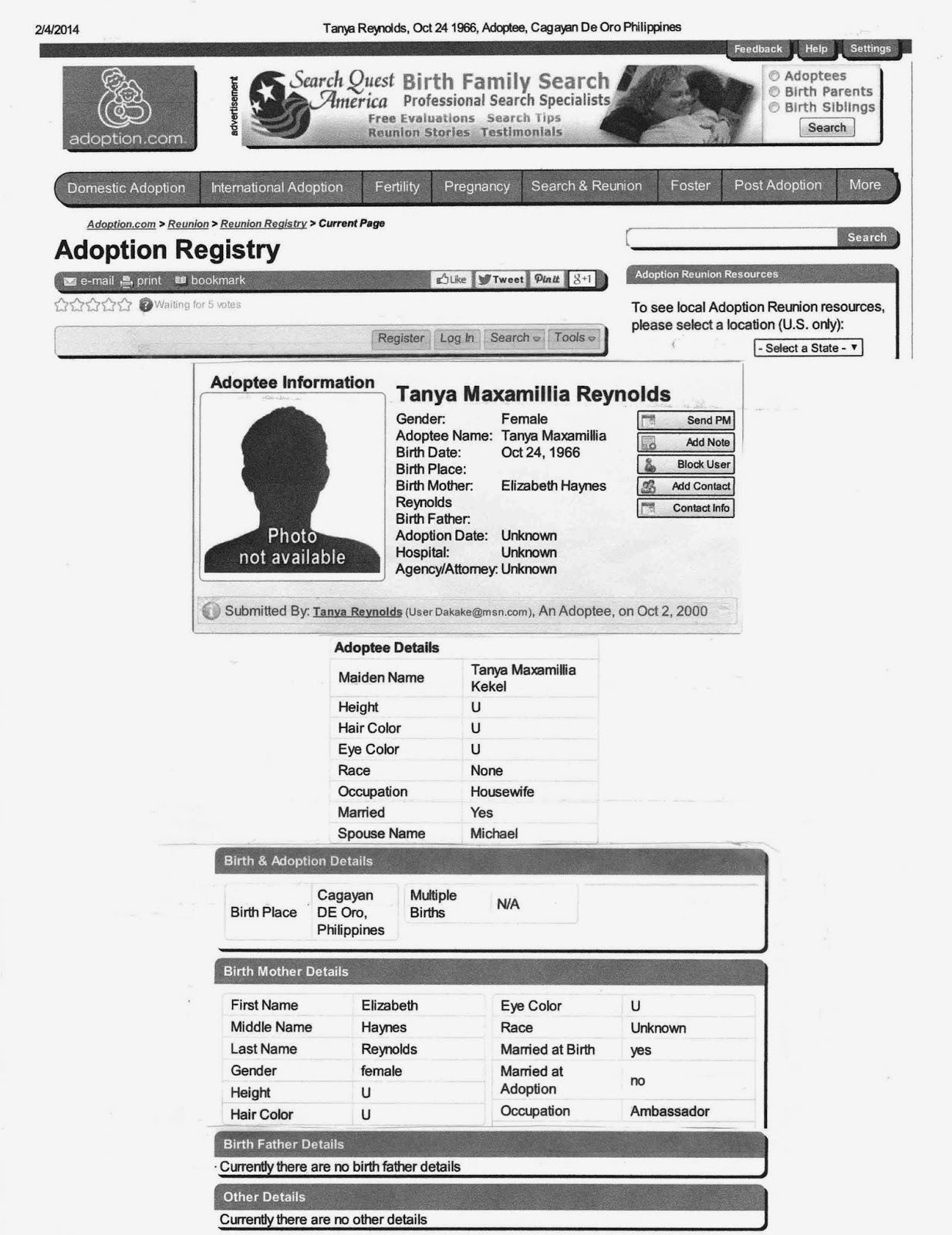 Tanya Davis Kekel's Adoption Registry Search Form circa 2014 - Click Image To Enlarge. Click Link To Go To Web Site.