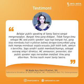 Testimoni Santy Sastra Public Speaking