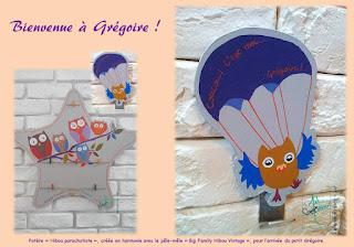 patere bois famille hibou parachutiste originale handmade