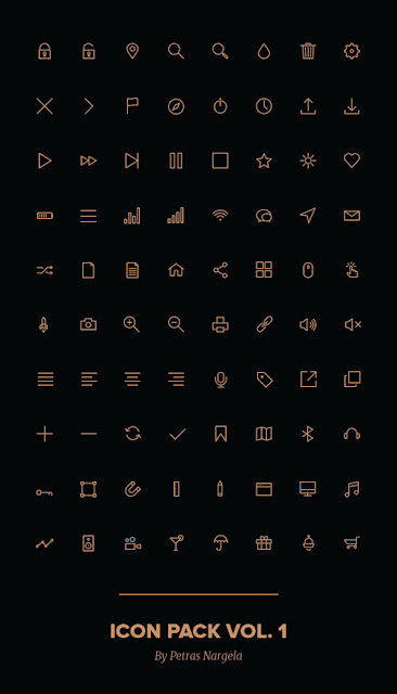 Gold outline icons pack