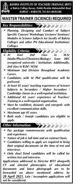 Bahria Institute of Teachers Training (BITT) Karachi Jobs 2021 in Pakistan