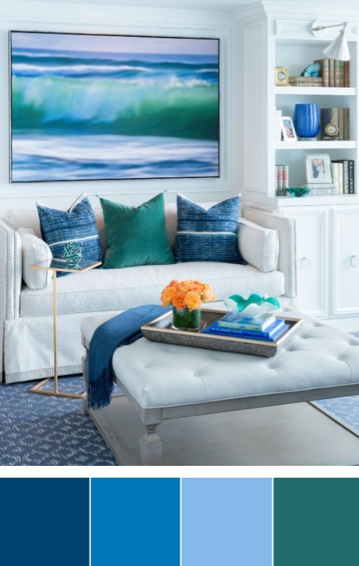 Blue Coastal Living Room Color Palette with Green